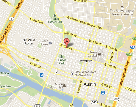 map of 827 W. 12th, The Well Ashiatsu Barefoot Massage Austin